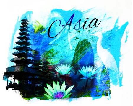 バリの寺院と蓮の花、単語に「アジア」と「アジア」コラージュ、青とシアンの色合い