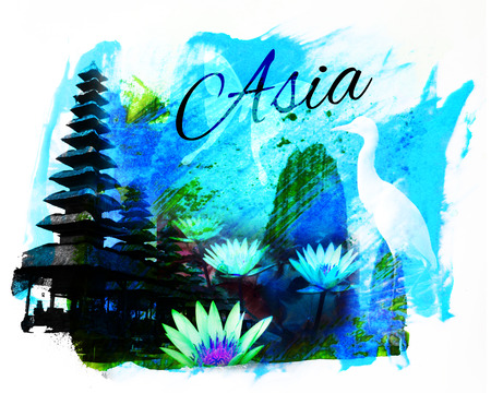 Asia collage, with Balinese temple and lotus flowers, and the word Asia, blue and cyan tint