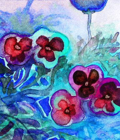 Colorful semi-abstract watercolor of pansies Stock Photo
