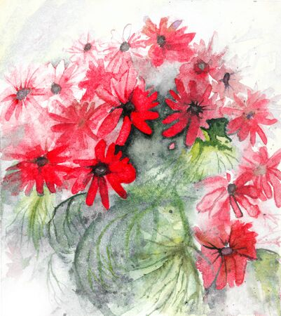 Semi-abstract red flowers watercolor Stock Photo