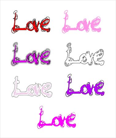 caligraphy: love calligraphy vector, the word love hand-writtenscribbled, 7 variations Illustration