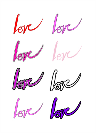 caligraphy: love calligraphy vector, the word love hand-written, 8 variations