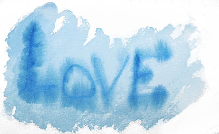 love painted, the word love hand-painted, artistic word love, blue watercolor with bleed