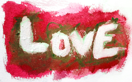 love painted, the word love hand-painted, artistic word love, vivid paint reds and whites vignette Stock Photo