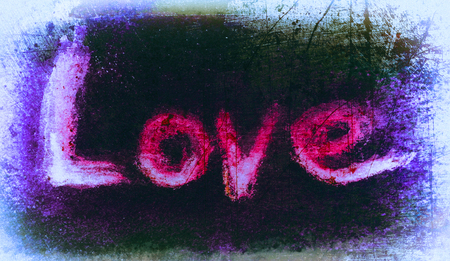 love painted, the word love hand-painted, artistic word love, grunge texture, reds and purples with pale vignette Stock Photo