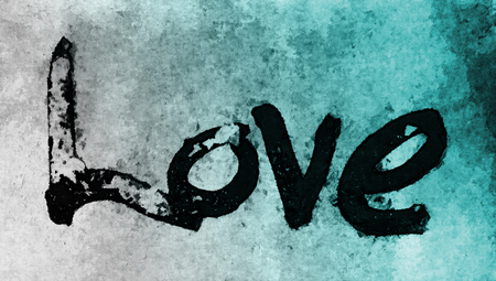 love painted, the word love hand-painted, artistic word love, rough painted partially washed-out brush lettering on grunge texture, cyan color gradation.