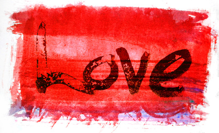 love painted, the word love hand-painted, artistic word love, rough painted partially washed-out brush lettering on red painted texture with white background. Imagens
