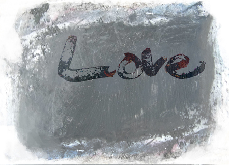 love painted, the word love hand-painted, artistic word love, rough painted partially washed-out brush lettering on grunge painted concrete texture, grays. Banco de Imagens