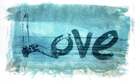 love painted, the word love hand-painted, artistic word love, rough painted partially washed-out brush lettering on blue painted texture with white background.