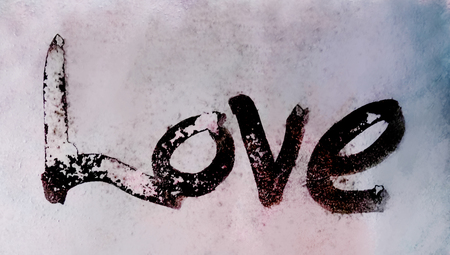 love painted, the word love hand-painted, artistic word love, rough painted partially washed-out brush lettering on blurred painted texture, grays with pastel tints.