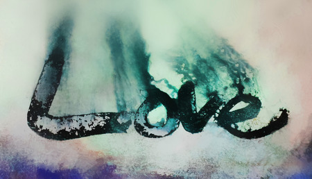 love painted, the word love hand-painted, artistic word love, rough painted partially washed-out brush lettering on wet paper with ink running on blurred painted texture.
