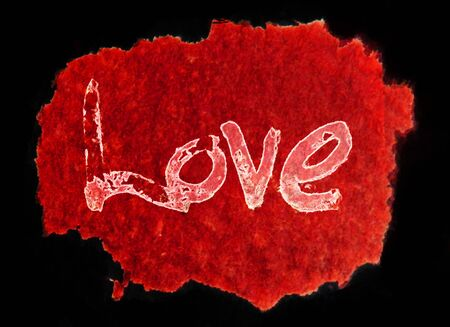 love painted, the word love hand-painted, artistic word love, rough painted partially washed-out brush lettering on red watercolor texture on black background.
