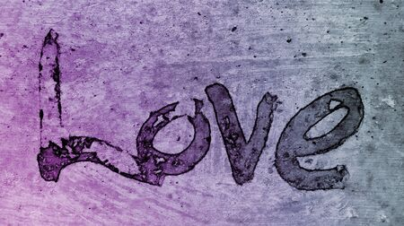 love painted, the word love hand-painted, artistic word love, rough painted partially washed-out brush lettering on painted texture, purple tint.