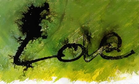 love painted, the word love hand-painted, artistic word love, brush lettering partially washed-out on wet paper with indian ink running on painted grunge texture. Banco de Imagens