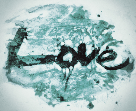 love painted, the word love hand-painted, artistic word love, brush lettering partially washed-out on wet paper with ink running on painted grunge texture, blue tint, on vignette background. Banco de Imagens
