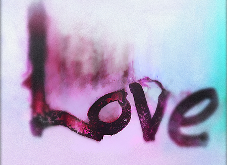 love painted, the word love hand-painted, artistic word love, rough painted partially washed-out brush lettering on wet paper with ink running on painted texture, purple and cyan tints, blur vignette,