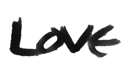 love painted, the word love hand-painted, artistic word love, gray brush lettering on white background. Stock Photo