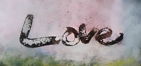 love painted, the word love hand-painted, artistic word love, rough painted partially washed-out brush lettering on grunge painted texture.