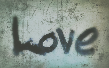 love painted, the word love hand-painted, artistic word love, brush lettering partially washed-out on wet paper with ink running on painted grunge texture, cyan tints, blur vignette.