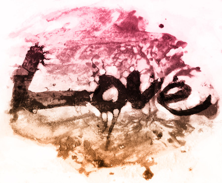love painted, the word love hand-painted, artistic word love, brush lettering partially washed-out on wet paper with ink running on painted grunge texture, warm color tints.