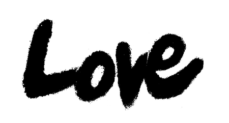 love painted, the word love hand-painted, artistic word love, black brush lettering with slight bleed, on white background.