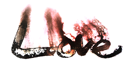 love painted, the word love hand-painted, artistic word love, rough painted partially washed-out brush lettering on wet paper with ink running on white background.
