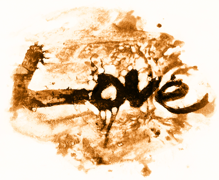 love painted, the word love hand-painted, artistic word love, brush lettering partially washed-out on wet paper with ink running on painted grunge texture, orange tint.