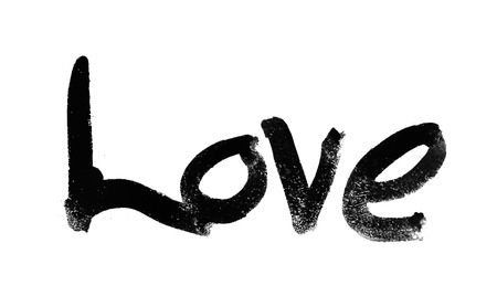 love painted, the word love hand-painted, artistic word love, brush lettering on white background.