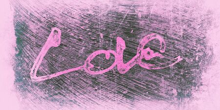 love painted, the word love hand-painted, artistic word love, brush lettering partially washed-out on wet paper with indian ink  on painted grunge texture background, with pale vignette. Red tint. Banco de Imagens