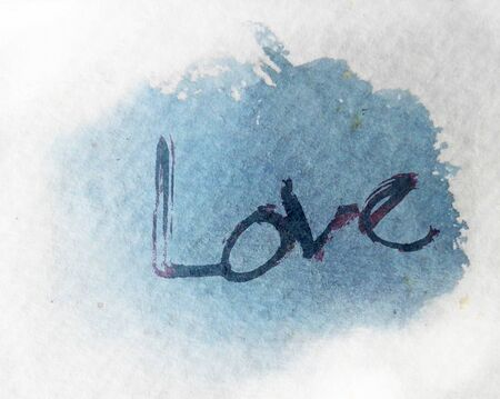 love painted, the word love hand-painted, artistic word love, rough brushed lettering on watercolor texture, cool colors.