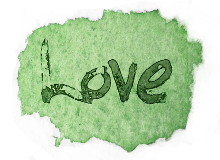 white washed: love painted, the word love hand-painted, artistic word love, rough painted partially washed-out brush lettering on green watercolor texture on white background.
