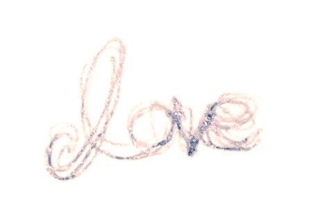 love painted, the word love hand-painted, artistic word love, partially washed-out brush lettering on white background. Banco de Imagens