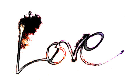 love painted, the word love hand-painted, artistic word love, partially washed-out Indian-ink brush lettering in warm colors running on white background.
