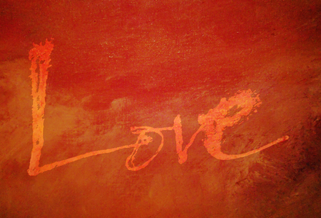 love painted, the word love hand-painted, artistic word love, pale rough brush lettering on oil paint texture, reds and oranges.