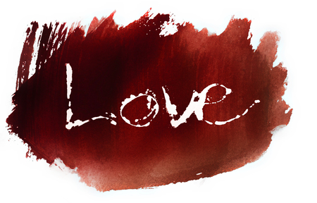 love painted, the word love hand-painted, artistic word love, pale brush painted lettering with paint beading, on red watercolor texture with white background. Stock Photo