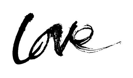 washed out: love painted, the word love hand-painted, artistic word love, rough brush lettering in Indian-ink partially washed-out and running on white background.