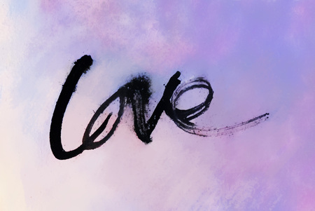 love painted, the word love hand-painted, artistic word love, rough brush lettering in Indian-ink partially washed-out and running on blurred wet painted texture. Stock Photo