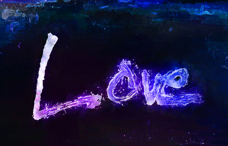 love painted, the word love hand-painted, artistic word love, rough brush lettering with dark outline, and magenta and blue color bleed on painted background with texture and watercolor effect. Stock Photo