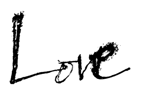 love painted, the word love hand-painted, artistic word love, rough brush lettering in Indian-ink partially washed-out and running on white background.