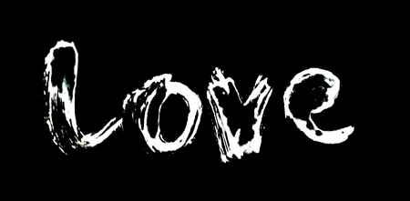 love painted, the word love hand-painted, artistic word love, pale rough painted brush lettering, partially washed-out, on black background.