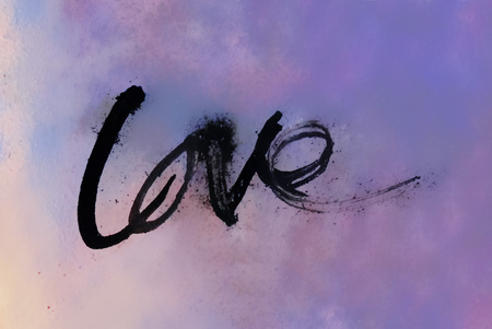 love painted, the word love hand-painted, artistic word love, rough brush lettering in Indian-ink partially washed-out and running on blurred wet painted texture. Banco de Imagens