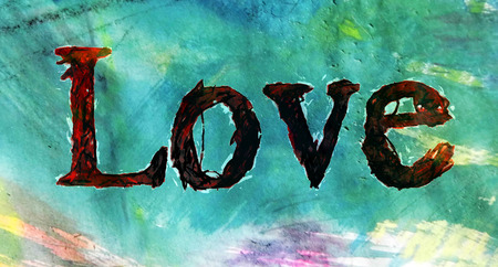 love hand-written, the word love written by hand, artistic word love, rough scribbled lettering with brush-strokes sketch effect, on mainly cyan colored painted texture.