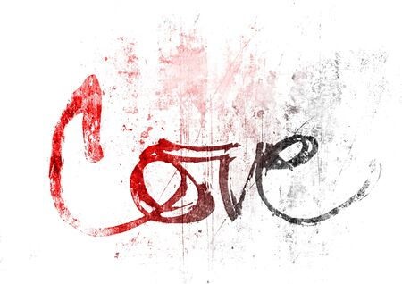 pale color: love hand-written, the word love written by hand, artistic word love, rough black brush lettering on oil painted texture with pale vignette, red color gradation.