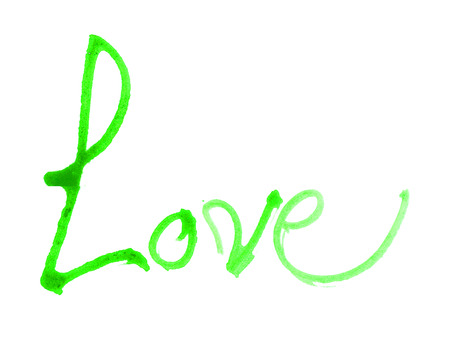 nib: love hand-written, the word love written by hand, artistic word love, rough green watercolor brush lettering of the word love with rough split nib, on white background. Stock Photo