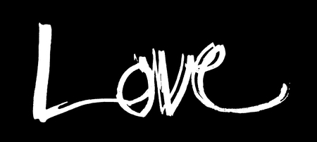 nib: love hand-written, the word love written by hand, artistic word love, rough white watercolor brush lettering of the word love with rough split nib, on black background.