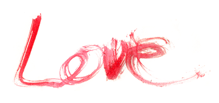 nib: love hand-written, the word love written by hand, artistic word love, rough red watercolor brush lettering of the word love sketched with rough split nib, on white background. Stock Photo