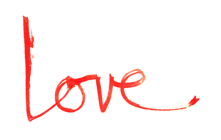 love hand-written, the word love written by hand, artistic word love, rough red watercolor brush lettering of the word love with rough split nib, on white background.