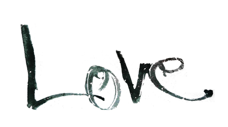 love hand-written, the word love written by hand, artistic word love, rough split nib calligraphy blue watercolor rough lettering of the word love, on white background. Stock Photo