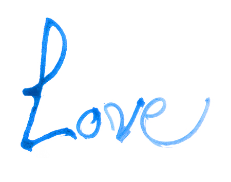nib: love hand-written, the word love written by hand, artistic word love, rough blue watercolor brush lettering of the word love with rough split nib, on white background. Stock Photo