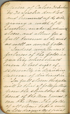 Old-style copper-plate handwriting in a small notebook on the subject of rendering of textiles in art. Stock fotó